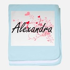 Alexandra Artistic Name Design with H baby blanket