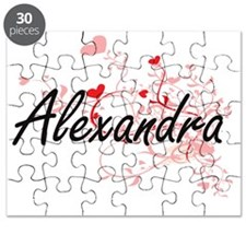 Alexandra Artistic Name Design with Hearts Puzzle