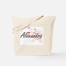 Alexandra Artistic Name Design with Heart Tote Bag