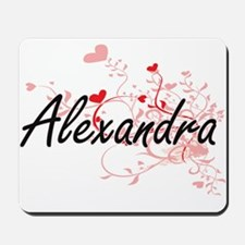 Alexandra Artistic Name Design with Hear Mousepad