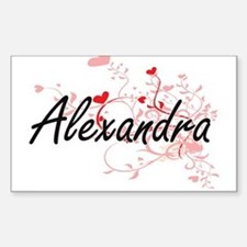 Alexandra Artistic Name Design with Hearts Decal