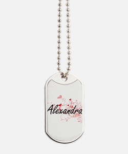 Alexandra Artistic Name Design with Heart Dog Tags