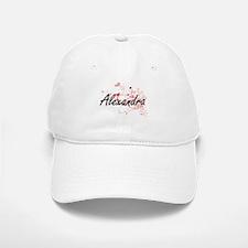 Alexandra Artistic Name Design with Hearts Baseball Baseball Cap