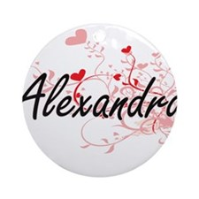 Alexandra Artistic Name Design wi Ornament (Round)