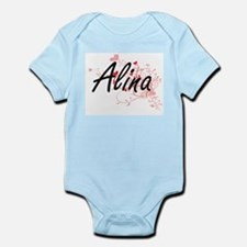 Alina Artistic Name Design with Hearts Body Suit