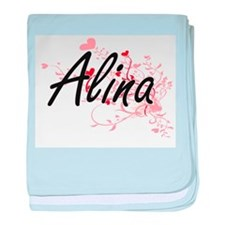 Alina Artistic Name Design with Heart baby blanket