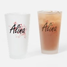 Alina Artistic Name Design with Hea Drinking Glass