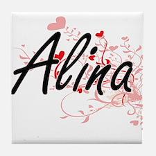 Alina Artistic Name Design with Heart Tile Coaster