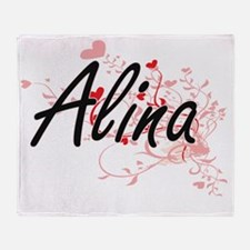 Alina Artistic Name Design with Hear Throw Blanket