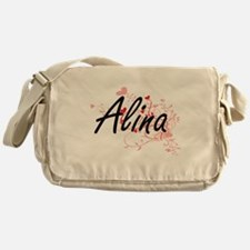 Alina Artistic Name Design with Hear Messenger Bag
