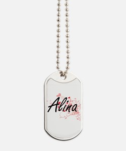Alina Artistic Name Design with Hearts Dog Tags