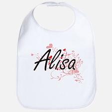 Alisa Artistic Name Design with Hearts Bib