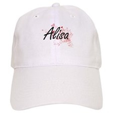 Alisa Artistic Name Design with Hearts Baseball Cap