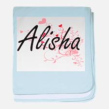 Alisha Artistic Name Design with Hear baby blanket