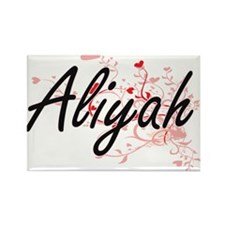 Aliyah Artistic Name Design with Hearts Magnets