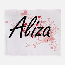 Aliza Artistic Name Design with Hear Throw Blanket