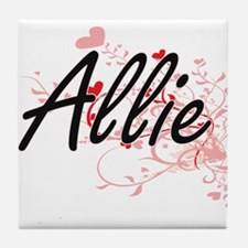 Allie Artistic Name Design with Heart Tile Coaster