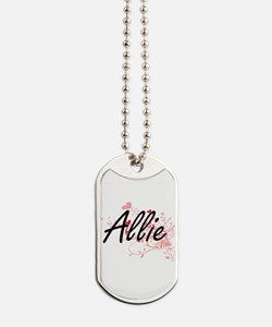Allie Artistic Name Design with Hearts Dog Tags