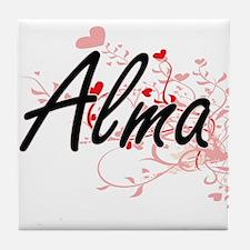 Alma Artistic Name Design with Hearts Tile Coaster