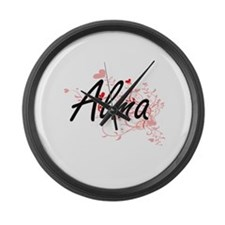 Alma Artistic Name Design with He Large Wall Clock