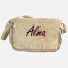 Alma Artistic Name Design with Heart Messenger Bag