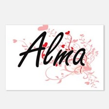 Alma Artistic Name Design Postcards (Package of 8)