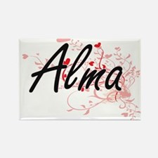 Alma Artistic Name Design with Hearts Magnets