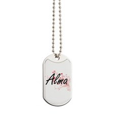 Alma Artistic Name Design with Hearts Dog Tags