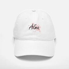 Alma Artistic Name Design with Hearts Baseball Baseball Cap