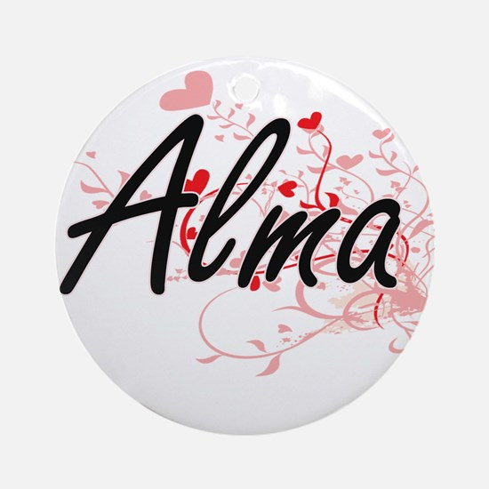 Alma Artistic Name Design with He Ornament (Round)