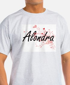 Alondra Artistic Name Design with Hearts T-Shirt