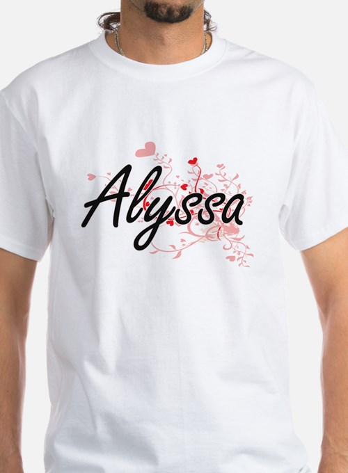 Alyssa Artistic Name Design with Hearts T-Shirt