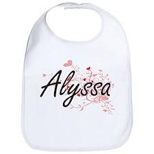 Alyssa Artistic Name Design with Hearts Bib