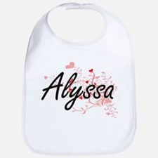 Alyssa Artistic Name Design with Hearts Bib