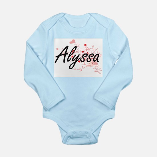 Alyssa Artistic Name Design with Hearts Body Suit