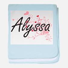 Alyssa Artistic Name Design with Hear baby blanket