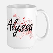 Alyssa Artistic Name Design with Hearts Mugs