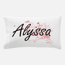Alyssa Artistic Name Design with Heart Pillow Case