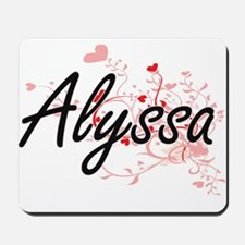 Alyssa Artistic Name Design with Hearts Mousepad