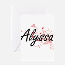 Alyssa Artistic Name Design with He Greeting Cards