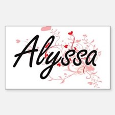 Alyssa Artistic Name Design with Hearts Decal