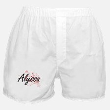 Alyssa Artistic Name Design with Hear Boxer Shorts