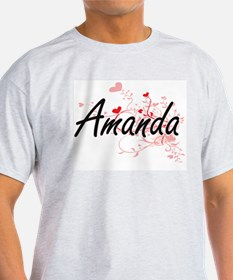 Amanda Artistic Name Design with Hearts T-Shirt