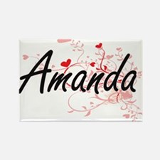 Amanda Artistic Name Design with Hearts Magnets