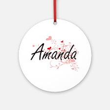 Amanda Artistic Name Design with Ornament (Round)