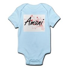 Amani Artistic Name Design with Hearts Body Suit