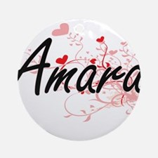Amara Artistic Name Design with H Ornament (Round)
