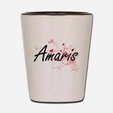 Amaris Artistic Name Design with Hearts Shot Glass