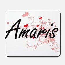 Amaris Artistic Name Design with Hearts Mousepad