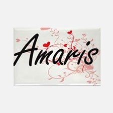 Amaris Artistic Name Design with Hearts Magnets